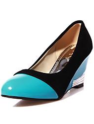 Недорогие -Жен. Обувь на каблуках Комфортная обувь Туфли на танкетке Лакированная кожа Милая Весна / Лето Белый / Красный / Тёмно-синий / Повседневные