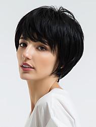 Недорогие -Человеческие волосы без парики Натуральные волосы Прямой Стрижка под мальчика / Короткие Прически 2019 Стиль Природные волосы Золотистый / Черный Без шапочки-основы Парик Жен. На каждый день