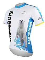 Недорогие -ILPALADINO Муж. С короткими рукавами Велокофты - Белый + синий Полярный медведь Велоспорт Джерси Верхняя часть, Дышащий Быстровысыхающий Ультрафиолетовая устойчивость 100% полиэстер