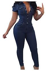 Недорогие -Жен. На выход Активный Рубашечный воротник Темно синий Широкие Комбинезоны, Однотонный XL XXL XXXL С короткими рукавами