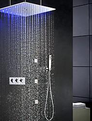 Недорогие -современный комплект для душа с ливневым дождем / 20 дюймов ванная комната с душевой лейкой / ручной душ из латуни / 6 штук спа-массажер форсунки для тела