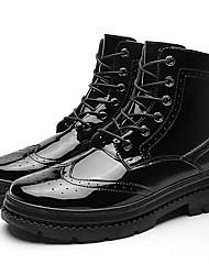 Недорогие -Муж. Fashion Boots Полиуретан Осень На каждый день Ботинки Доказательство износа Сапоги до середины икры Черный / Красный