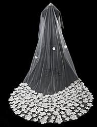 Недорогие -Один слой Старинный / Цветочный дизайн Свадебные вуали Соборная фата с Лепестки / Однотонные 118,11 в (300см) Кружева / Тюль