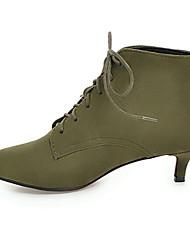Недорогие -Жен. Ботинки Комфортная обувь На низком каблуке Заостренный носок Замша / Микроволокно Ботинки Зима Черный / Красный / Зеленый