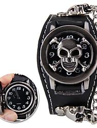 baratos -Homens Relógio de Pulso Digital Relógio Casual Legal Tecido Banda Analógico Caveira Fashion Preta - Preto