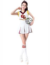 baratos -Fantasias para Cheerleader Roupa Mulheres Espetáculo Elastano Combinação Sem Manga Caído Saias / Blusa