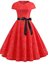 baratos -Mulheres Vintage / Elegante Algodão Delgado Calças - Sólido Vermelho / Para Noite