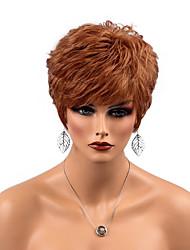 Недорогие -Человеческие волосы без парики Натуральные волосы Прямой Боковая часть Короткие Машинное плетение Парик Жен.