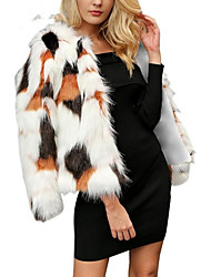 baratos -Mulheres Casaco de Pêlo Moda de Rua / Sofisticado - Estampa Colorida Pregueado / Patchwork