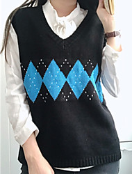 cheap -women's long sleeve vest - color block v neck
