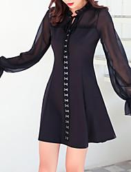 preiswerte -Damen Grundlegend Das kleine Schwarze Kleid - Gitter, Solide Mini