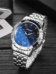 baratos -Homens Casal Relógio Esportivo Relógio de Pulso Quartzo 30 m Impermeável Relógio Casual Mostrador Grande Aço Inoxidável Banda Analógico Luxo Fashion Prata - Branco Azul