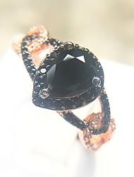 abordables -Femme Noir Classique Bague - Plaqué Or Rose, Imitation Diamant Poire Branché, Mode, Coloré 6 / 7 / 8 / 9 / 10 Or Rose Pour Carnaval Mascarade