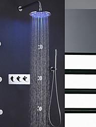 baratos -contemporânea banho chuveiro torneira set / 10 polegadas rodada chuva levou banheiro chuveiro cabeça / latão mão chuveiro incluído / 6 pcs spa massagem corpo pulverizador jatos