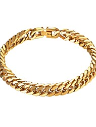 cheap -Men's Link / Chain Chain Bracelet - Stainless Steel Creative Fashion Bracelet Gold / Black / Silver For Gift / Daily