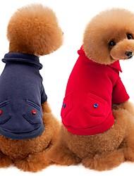 abordables -Chiens / Chats Sweatshirt Vêtements pour Chien Couleur Pleine Gris / Rouge Coton Costume Pour les animaux domestiques Unisexe Décontracté / Quotidien / Guêtres