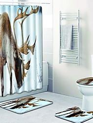 abordables -1 set Moderne Tapis Anti-Dérapants Polyester Elastique Tissé 100g / m2 Animal Rectangle Salle de Bain Design nouveau