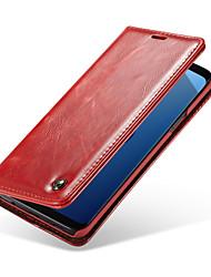 baratos -CaseMe Capinha Para Samsung Galaxy S9 Plus / S9 Porta-Cartão / Flip Capa Proteção Completa Sólido Rígida PU Leather para S9 / S9 Plus / S8 Plus