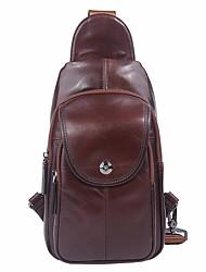 Недорогие -Муж. Мешки Кожа Слинг сумки на ремне Молнии Темно-коричневый