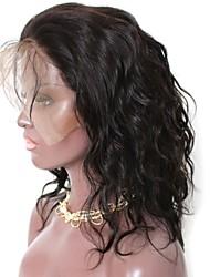 economico -capelli naturali Remy Lace frontale Parrucca Brasiliano Onda naturale Parrucca Taglio scalato Parte di mezzo Con la coda di cavallo 130% Densità dei capelli con i capelli del bambino Attaccatura dei