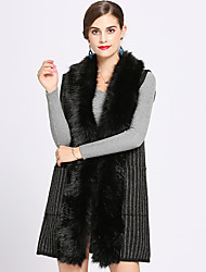 cheap -Sleeveless Faux Fur / Acrylic / Knit Wedding / Party / Evening Women's Wrap With Split Joint / Stripe Capes