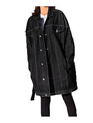 Недорогие -Жен. Повседневные Классический Обычная Джинсовая куртка, Однотонный Рубашечный воротник Длинный рукав Полиэстер Синий / Черный S / M / L