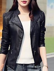 Недорогие -Жен. Повседневные Классический Короткая Кожаные куртки, Однотонный Воротник-стойка Длинный рукав Полиуретановая Черный