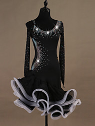 baratos -Dança Latina Vestidos Mulheres Treino Elastano / Tule Cristal / Strass Manga Longa Alto Vestido