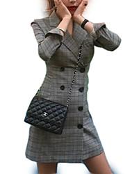 Недорогие -Жен. На выход Оболочка Платье Воротник Питер Пен Мини