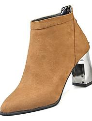 Недорогие -Жен. Армейские ботинки Полиуретан Осень На каждый день Ботинки На толстом каблуке Сапоги до середины икры Черный / Коричневый
