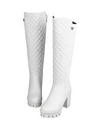 billiga -Dam Fashion Boots PU Höst vinter Stövlar Bastant klack Rundtå Knähöga stövlar Vit / Svart / Fest / afton