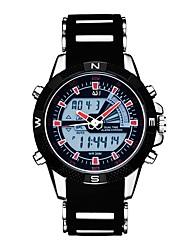 Недорогие -ASJ Муж. Спортивные часы Японский Кварцевый 30 m Защита от влаги Календарь Секундомер PU Группа Аналого-цифровые На каждый день Мода Черный - Черный Красный / Фосфоресцирующий