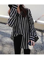 cheap -Women's Basic Plus Size Cotton Skinny Shirt - Striped V Neck