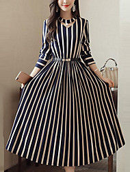 cheap -Women's Street chic / Sophisticated Shift / Swing Dress - Striped Blue & White / Black & Red / Black & White