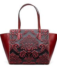 Недорогие -женские сумки наппа кожа тоте тисненый красный / черный