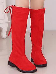Недорогие -Девочки Обувь Замша Зима сутулятся сапоги Ботинки для Дети Черный / Коричневый / Красный / Сапоги выше колена