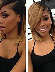 billige -Ubehandlet / Jomfruhår Blonde Front Paryk Brasiliansk hår Lige Paryk Bob frisure / Kort bob / Side del 130% Ombre-hår / Mørke hårrødder / Natural Hairline Blond Dame 8-14 Blondeparykker af menneskehår