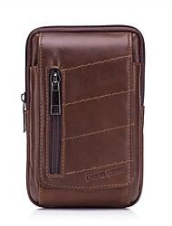 Недорогие -Муж. Мешки Кожа Мобильный телефон сумка Молнии Сплошной цвет Коричневый