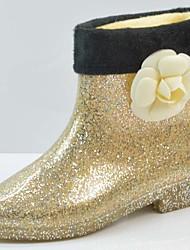 Недорогие -Жен. Резиновые сапоги ПВХ Наступила зима Милая Ботинки На толстом каблуке Ботинки Золотой / Черный