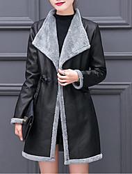 Недорогие -Жен. Пальто Уличный стиль / Изысканный - Контрастных цветов Плиссировка