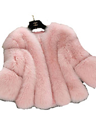 cheap -Women's Daily / Going out Active / Sophisticated Winter Regular Fur Coat, Solid Colored V Neck Long Sleeve Faux Fur White / Pink / Gray XL / XXL / XXXL / Loose