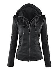 Недорогие -Жен. Кожаные куртки Винтаж / Панк & Готика - Однотонный