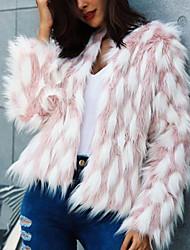 billiga -Dam Arbete / Fest / cocktail Streetchic / Sofistikerat Vinter Plusstorlekar Normal Fur Coat, Randig / Rutig / Bohemisk Rund hals Långärmad Fuskpäls Regnbåge XL / XXL / XXXL / Sexig