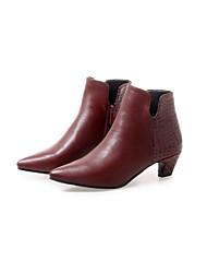 Недорогие -Жен. Ботильоны Наппа Leather Лето Ботинки На толстом каблуке Черный / Винный
