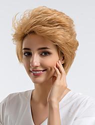 Недорогие -Человеческие волосы без парики Натуральные волосы Кудрявый Стрижка под мальчика / Боковая часть / Короткие Прически 2019 Стиль Природные волосы Золотистый Без шапочки-основы Парик Жен. На каждый день