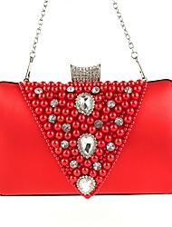 Недорогие -Жен. Мешки Шелк / Сплав Вечерняя сумочка Бусины / Кристаллы Цветочный принт Красный