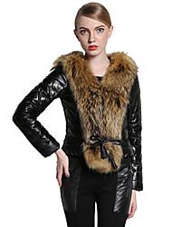 baratos -Mulheres Jaquetas de Couro Sofisticado - Estampa Colorida