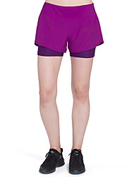 cheap -Women's With Inner Shorts Running Tight Shorts - Black, Violet Sports Color Block Spandex Shorts Yoga, Fitness, Workout Activewear Lightweight, Quick Dry, Breathable High Elasticity Skinny
