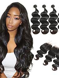 tanie -4 zestawy z zamknięciem Włosy malezyjskie Body wave 10A Włosy naturalne remy Doczepy z naturalnych włosów Taśma włosów z zamknięciem 8-26 in Natutalne Ludzkie włosy wyplata Miękka Najwyższa jako
