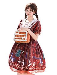 abordables -Doux Lolita Classique / Traditionnelle Doux Princesse Femme Robes Cosplay Orange / Bleu Bouffantes Manches Courtes Manches Longues Mi-long Les costumes